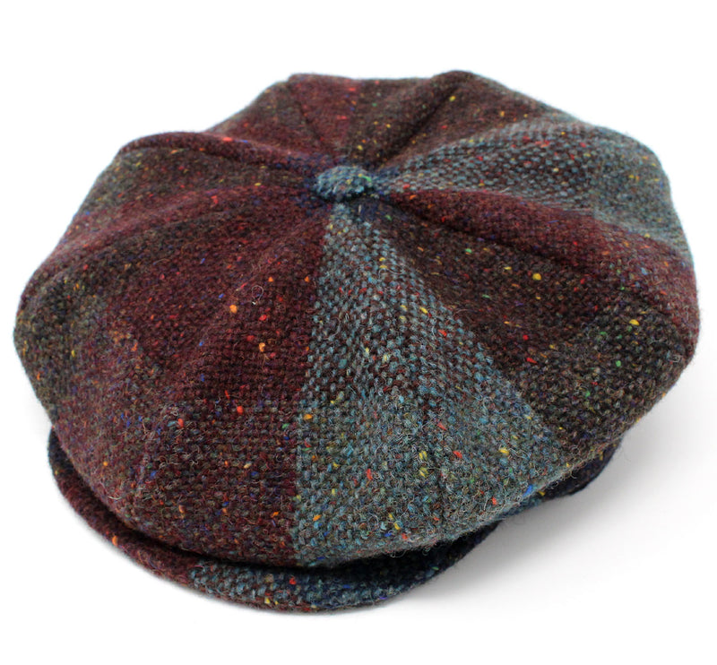 Hanna Tweed Baggy Button Cap | Jumbo Burgundy and Teal Mix