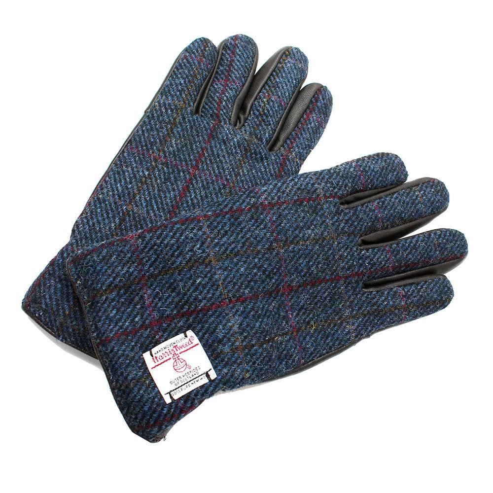 Blue Harris Tweed Gloves
