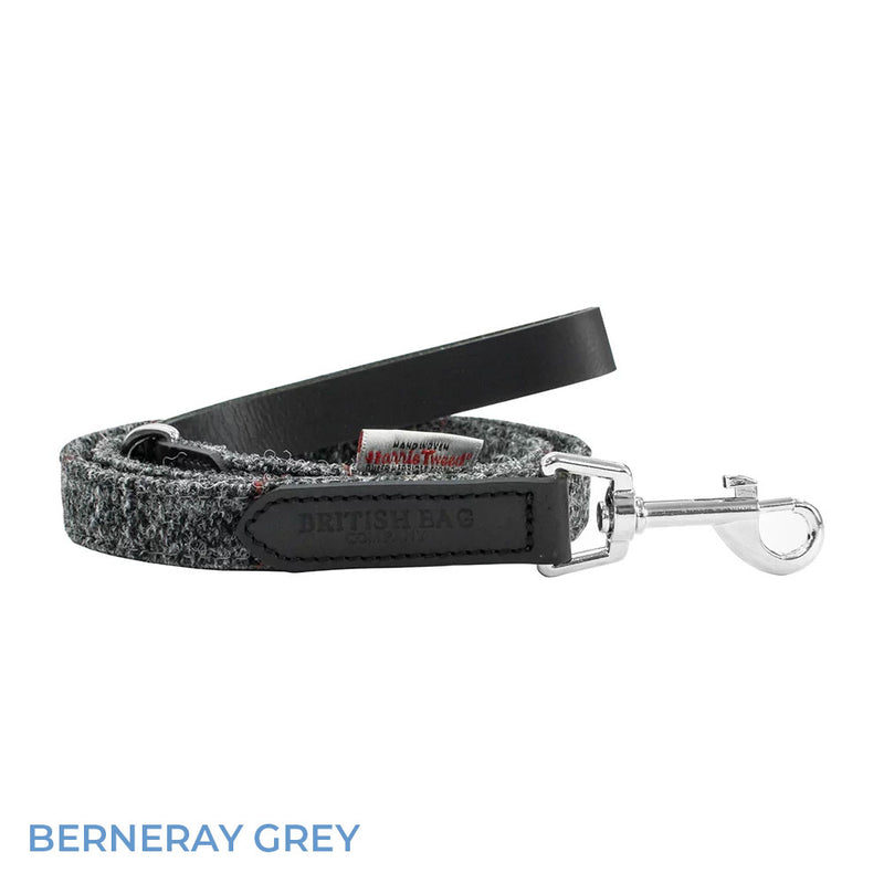 Berneray Grey British Bag Co. Harris Tweed Dog Lead