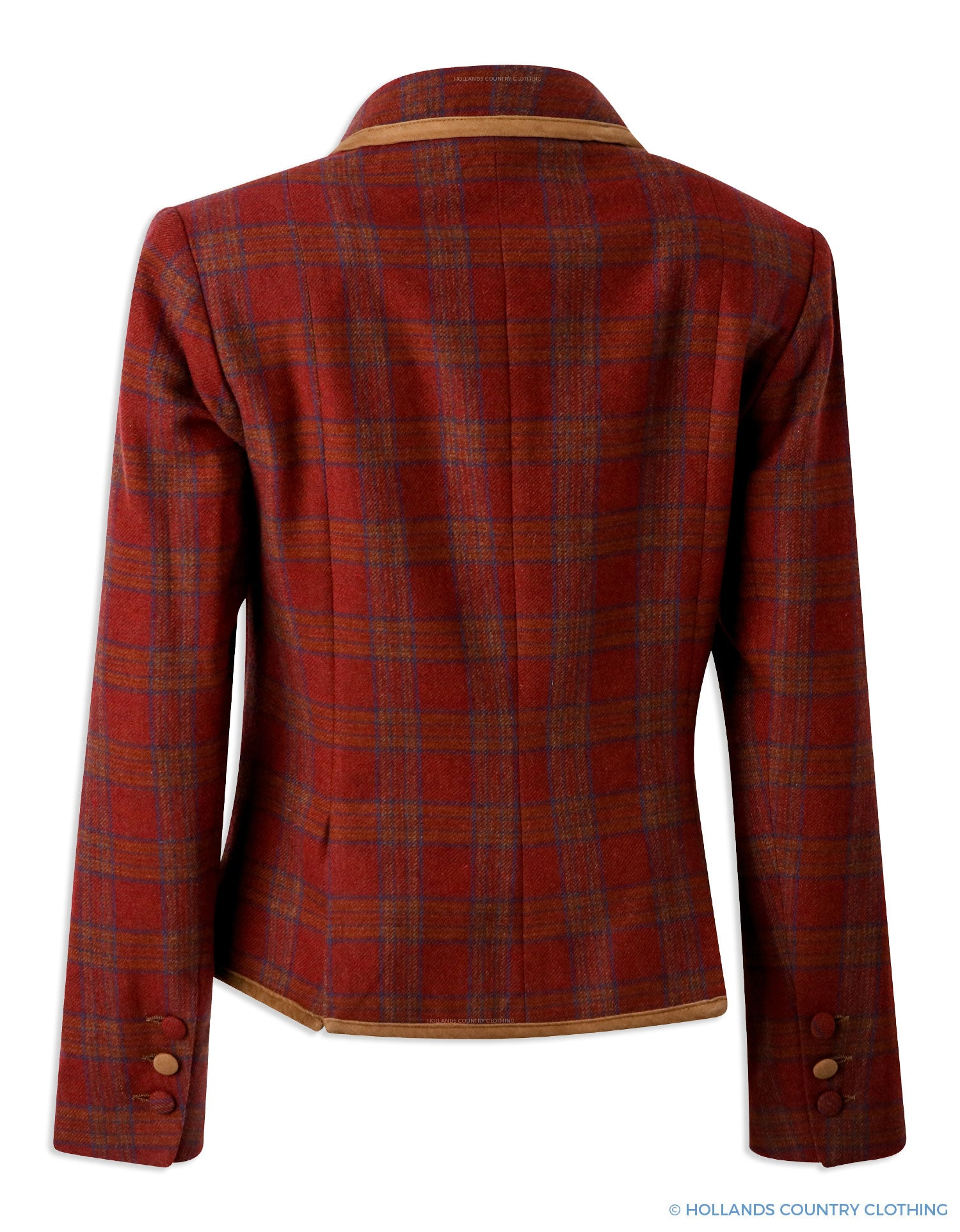 Rear view Brown Tartan tweed jacket