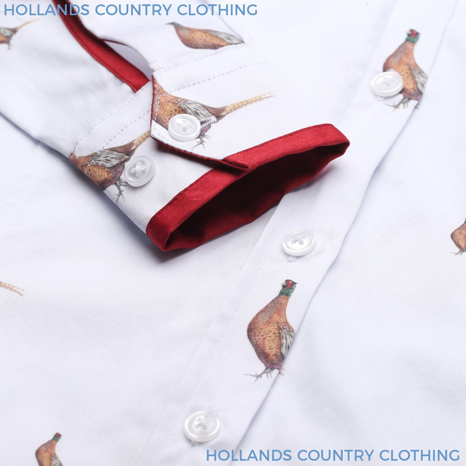 White Cotton shirt with pheasant design print and red cuff trim