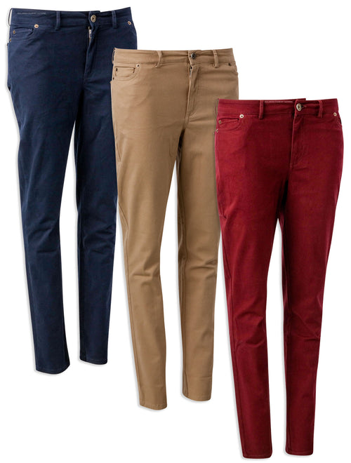 Hartwell Melanie Cotton Trousers | Navy, Beige & Burgundy