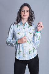Hartwell Layla Cotton Shirt | Hummingbird Stripe