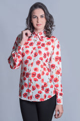 Hartwell Lia Ladies Shirt | Poppy Red Flowers