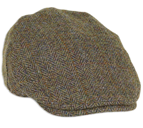 Highland Cap in Green/Brown Herringbone Harris Tweed