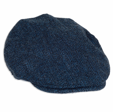 Heather Highland Harris Tweed Flat Cap | Blue/Black