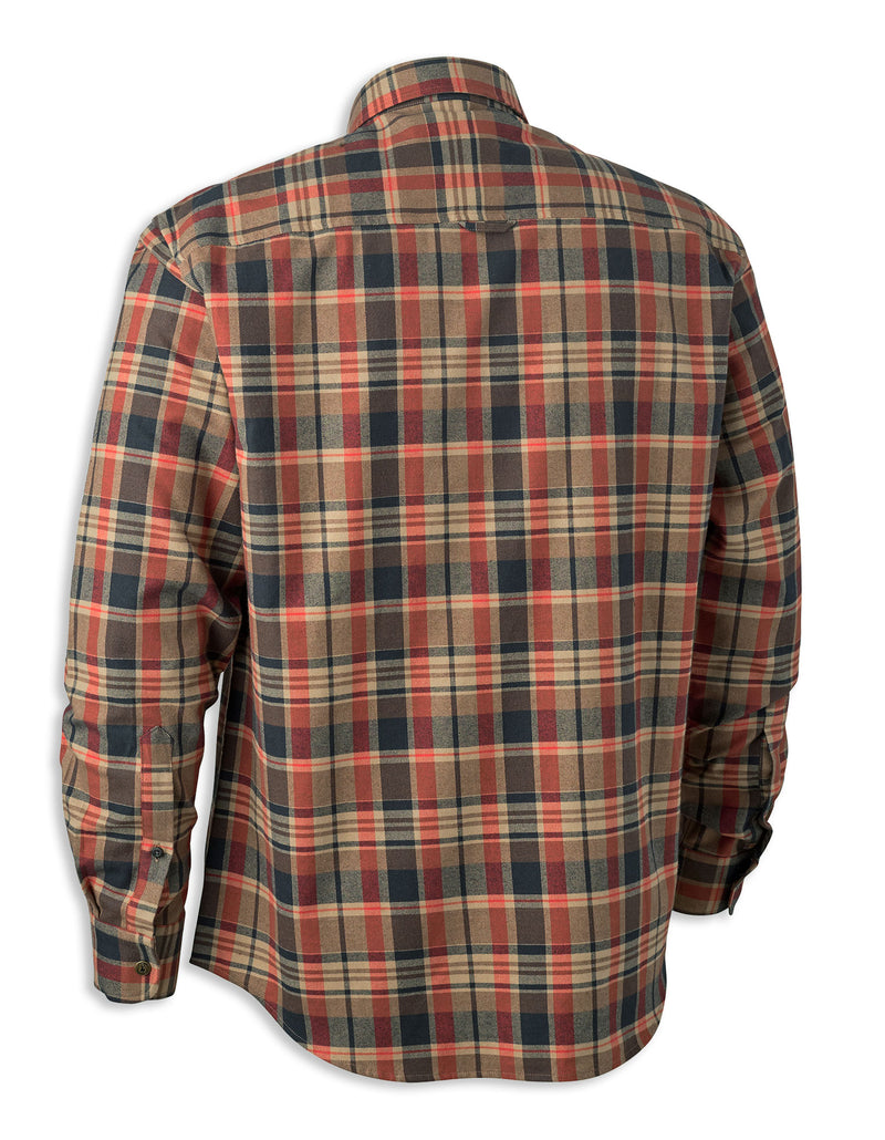 Orange Brown Black Tartan Deerhunter Hektor Check Shirt