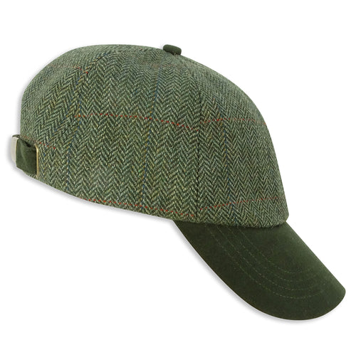 Hoggs of Fife Helmsdale Tweed Baseball Cap | Green Herringbone Tweed
