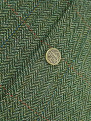 Green Herringbone tweed with Blue and Red over check