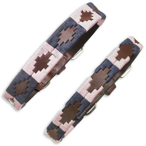 Pampeano Hermoso Leather Dog Collar | Pink Blue Brown