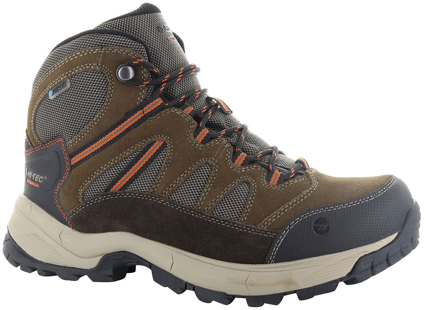 Hi-Tec Bandera Lite Waterproof Hiking Boots in Orange and Chocolate
