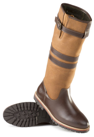 Alan Paine Ladies Leather Tall Waterproof Country Boot in golden tan and brown