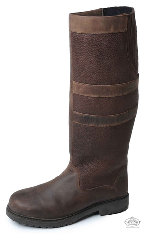 Catesby Chatsworth Leather Knee High Waterproof Riding Boots in oak leather