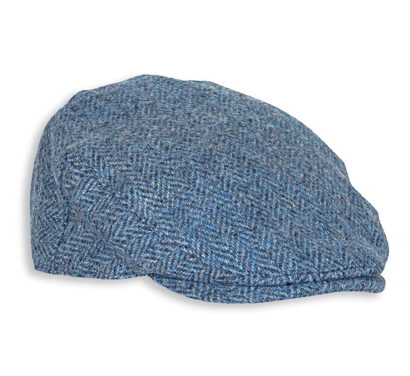 Heather Highland Harris Tweed Flat Cap | Denim Herringbone