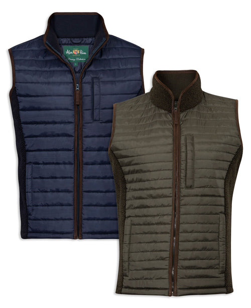 Alan Paine Highshore Quilted Gilet | Dark Navy, Dark Olive