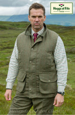 Hoggs of Fife Invergarry Tweed Field Waistcoat moss green