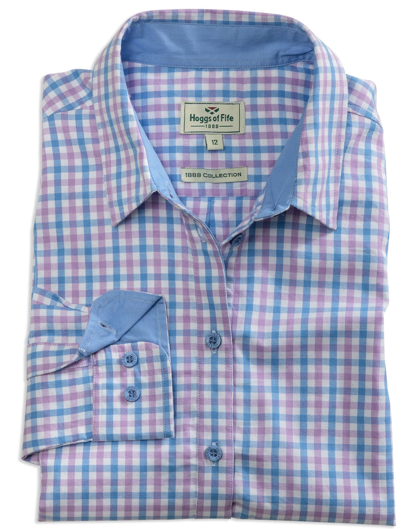 ladies blue and pink check shirt