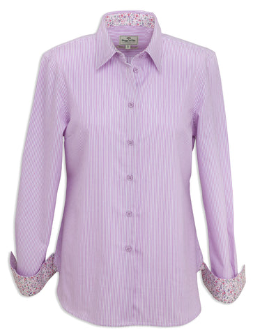 Hoggs of Fife Bonnie Stripe Shirt lavender and white