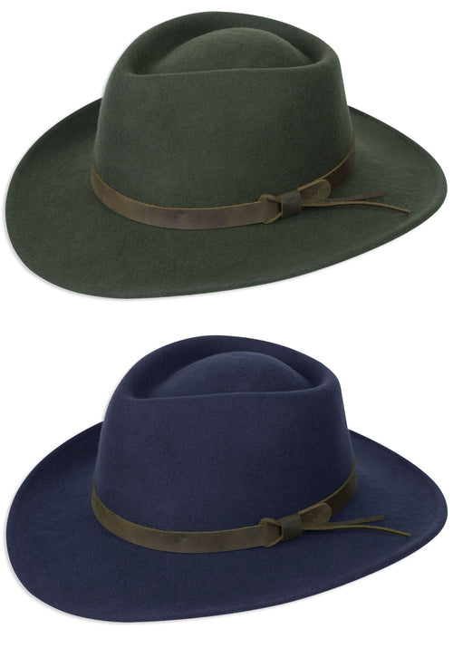 Hoggs Perth Crushable Felt Hat in Navy and Green