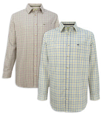 Hoggs of Fife Falkland Twill Shirt | Blue Brown, Green Wine