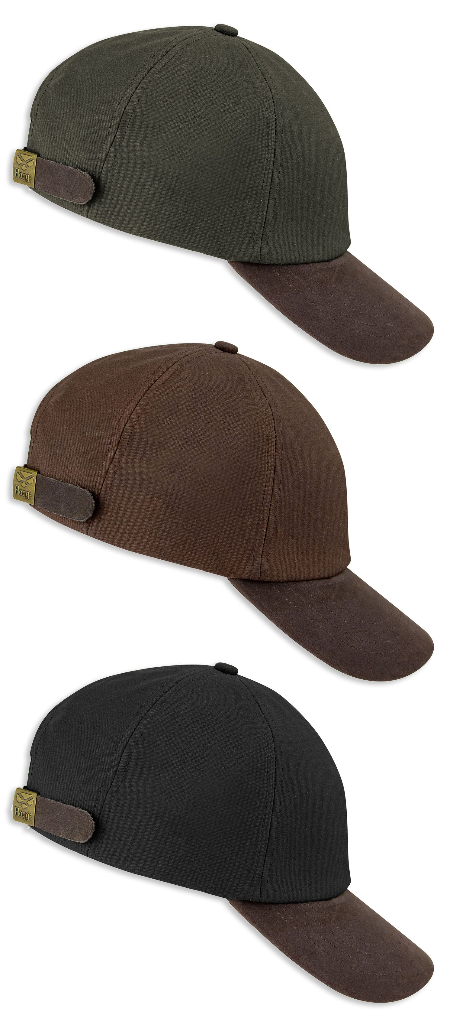 Hoggs of Fife Leather Peak Waxed Baseball Cap | Navy, Brown, Olive