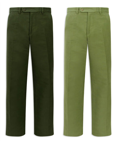 Hoggs of Fife Monarch Moleskin Trousers | Lovat, Olive