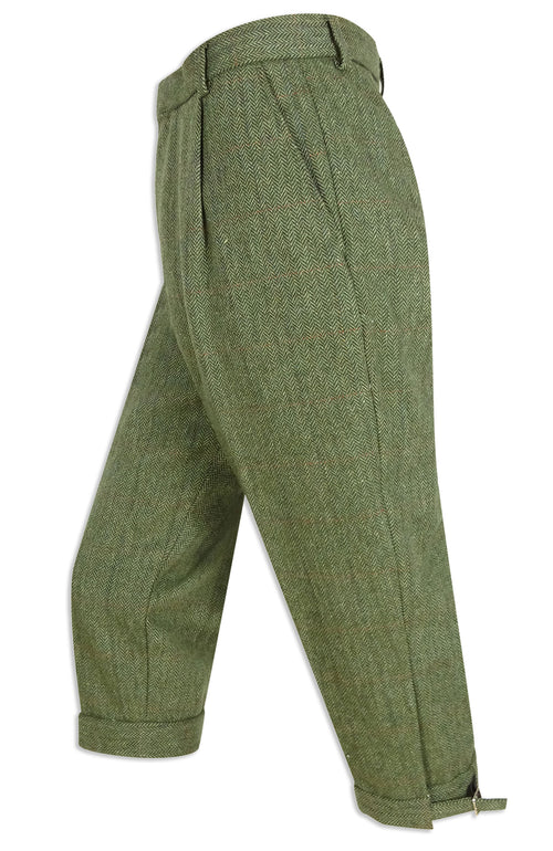 Hoggs of Fife Helmsdale Tweed Breeks | Green herringbone Tweed