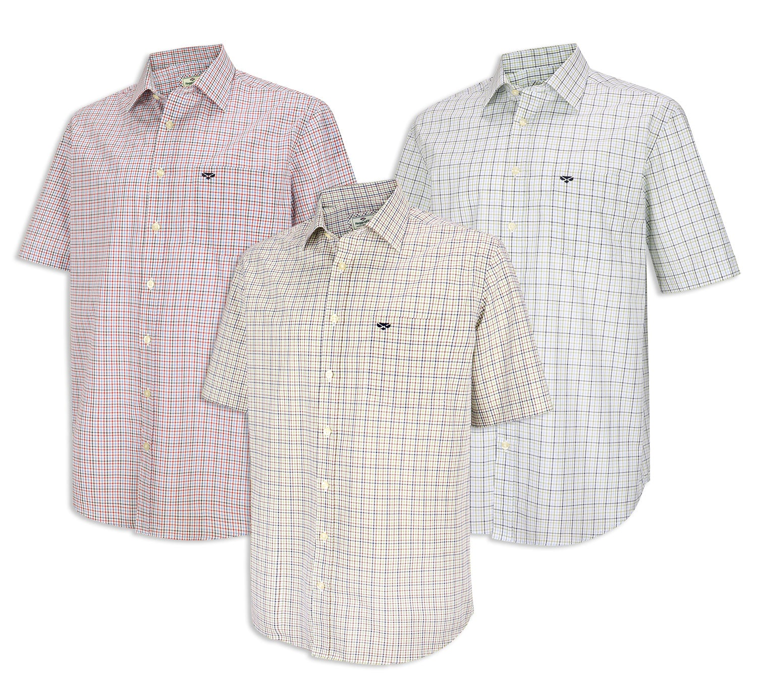 Hoggs of Fife Muirfield Short Sleeve Shirt | Red Blue, Green Brown Check