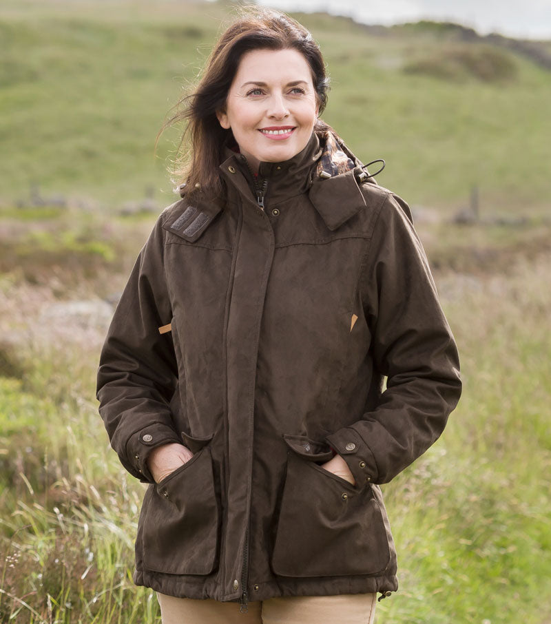 woman wearing Hoggs of Fife Ladies Hunting Jacket