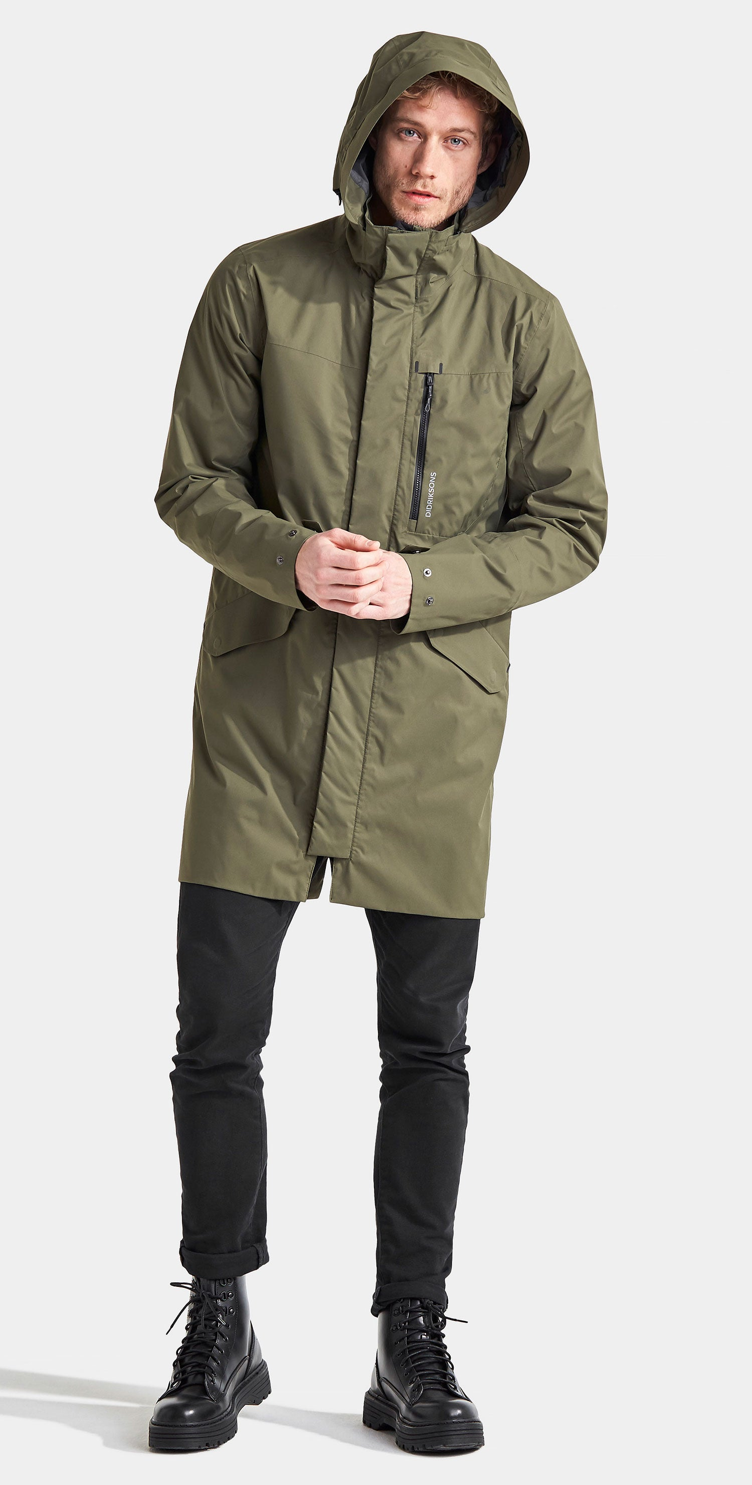 Green Parka worn with the hood