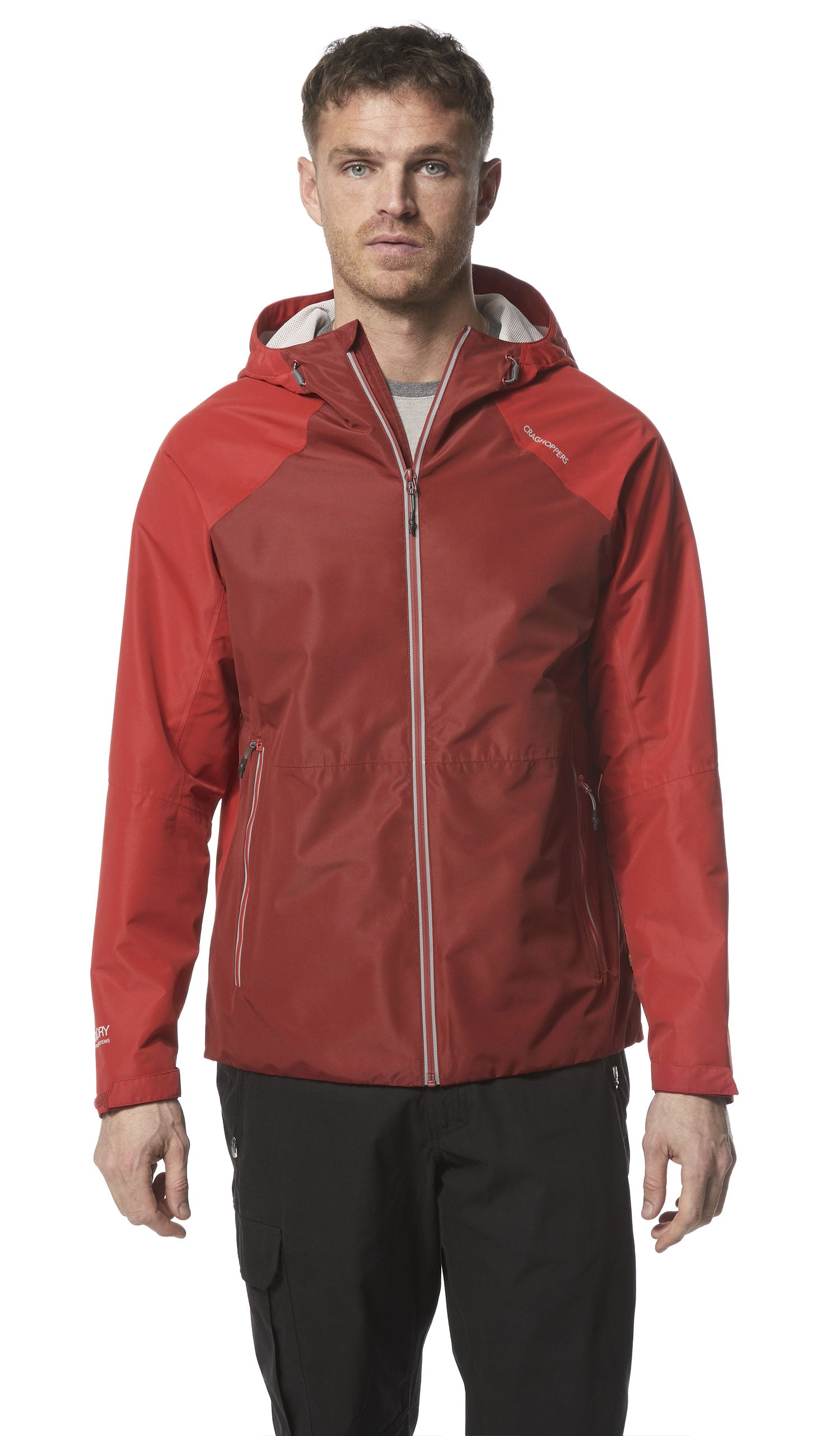 Man wearing Horizon Waterproof Jacket by Craghoppers in Garnet Red