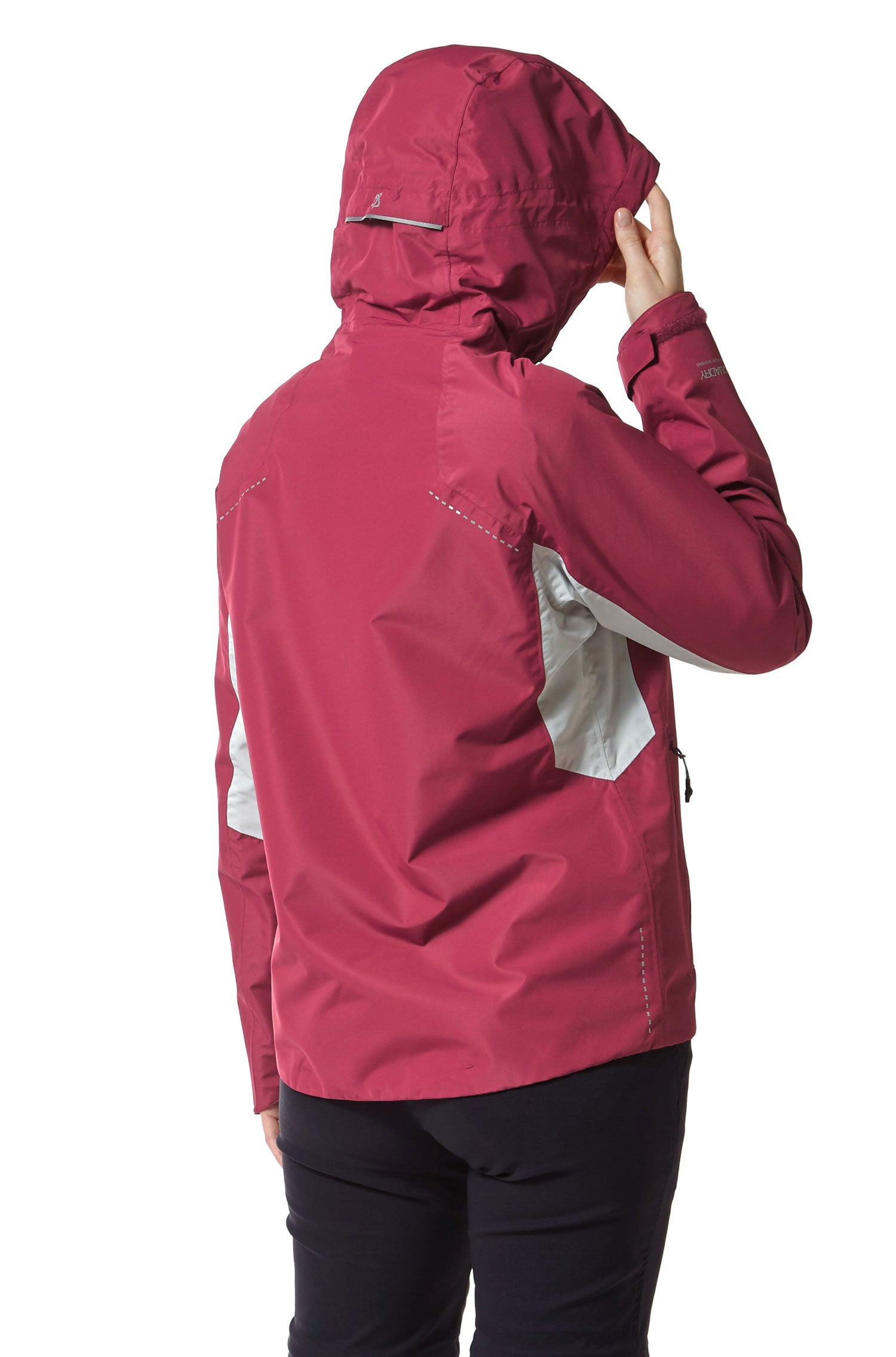 rear view hood up Craghoppers Horizon Waterproof Jacket | Amalfi Rose