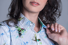 Layla Ladies Country Shirt by Hartwell with green humming birds with a stripe pattern