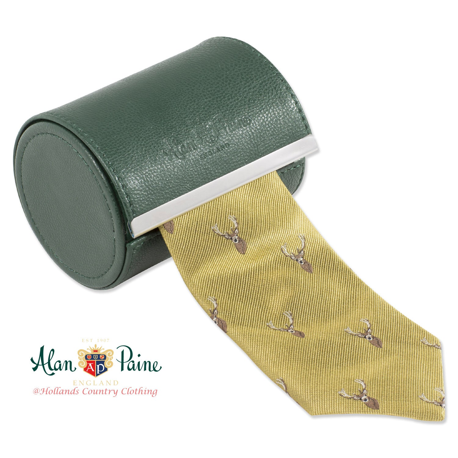 Gold Alan Paine Ripon Silk Tie | Stag's Head