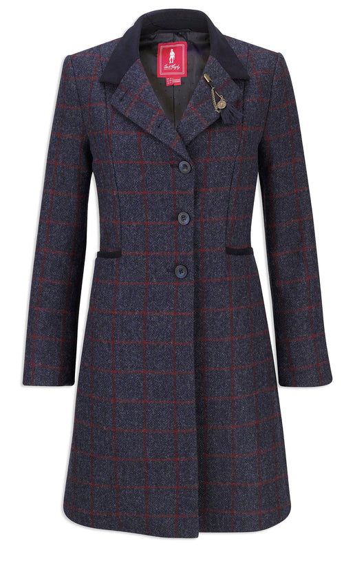 Jack Murphy Isabella Tweed Coat | Check Navy
