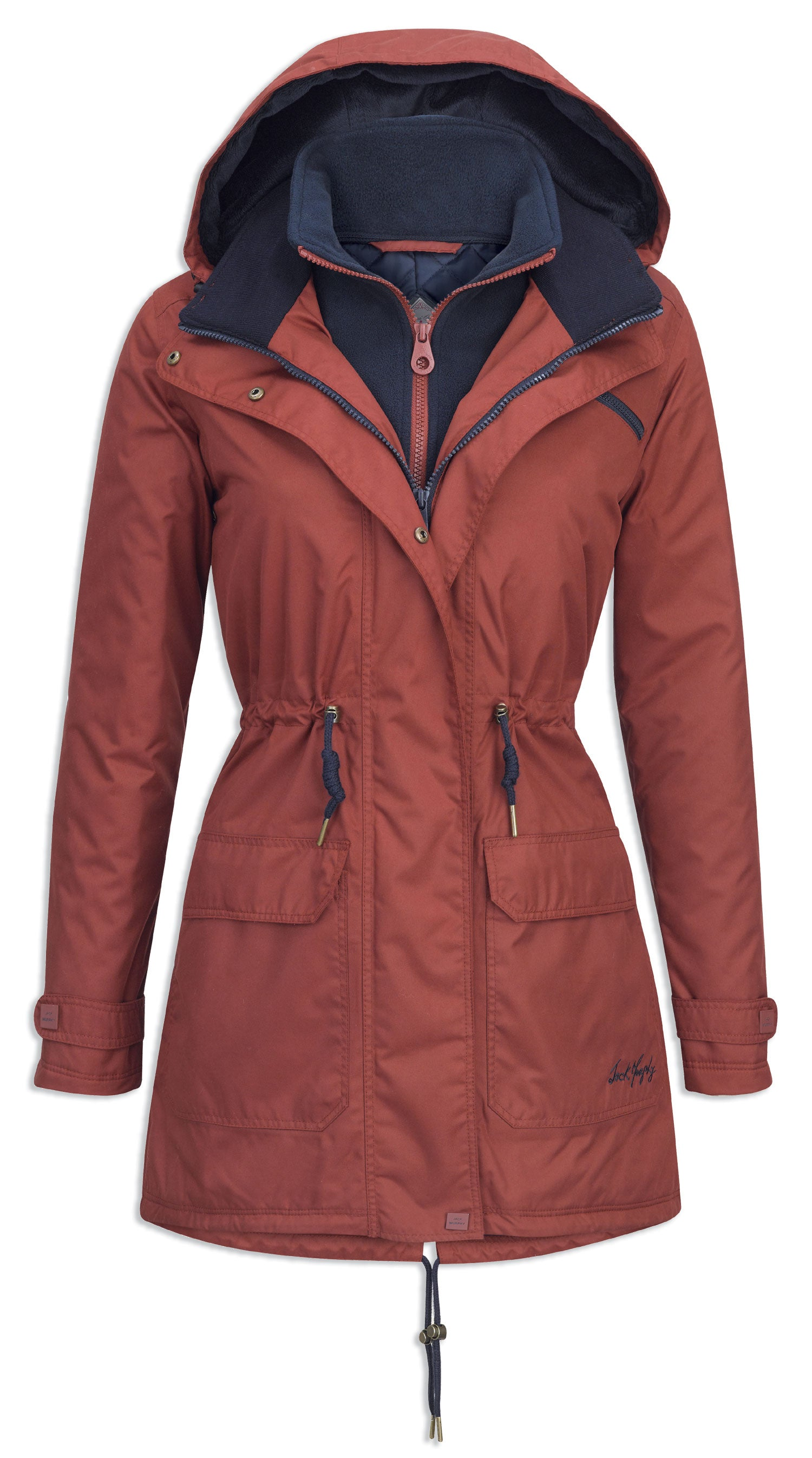 red brick Jack Murphy Ladies Brooke Waterproof Coat breathable with a hood