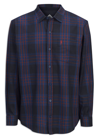 Jack Murphy Clayton Long Sleeve Shirt Blue tartan shirt