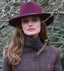 Wine Boston hat worn with Jack Murphy Sasha Tweed Jacket | Deep Burren