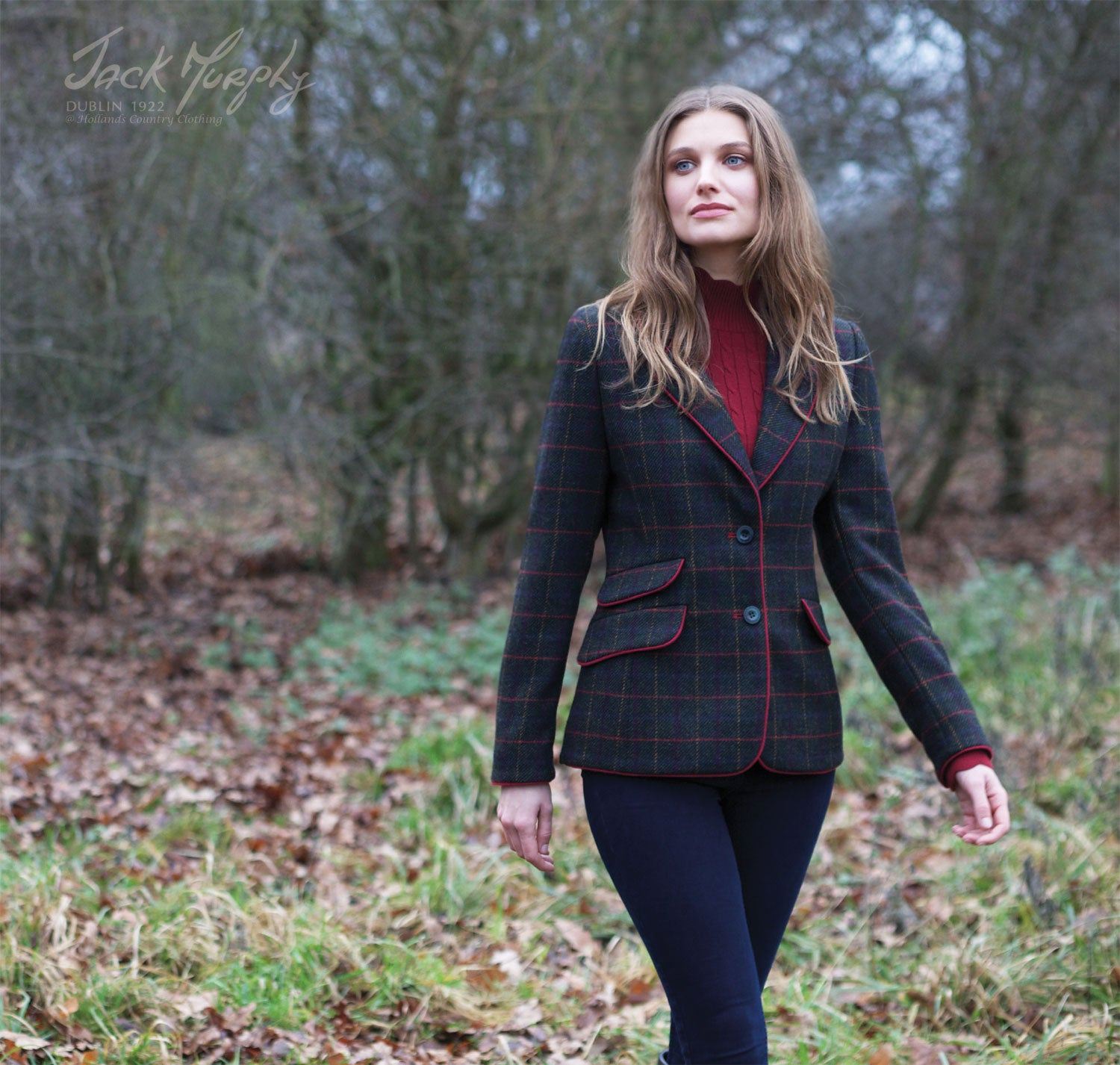 Blanche Tweed Jacket by Jack Murphy with Green and Red Check Tweed design