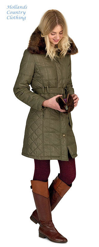 800aa1ca4af8a lady wearing Jack Murphy Cecily Padded Coat - with sherpa Fleece lining