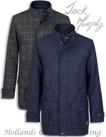 Jack Murphy Colman Tweed Coat in navy and country green for men