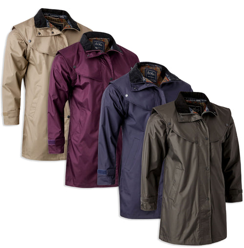 Jack Murphy Cotswold Ladies Waterproof  3/4 Coat. Navy, Blackberry, Olive, Chinchilla