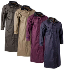 Jack Murphy Malvern Ladies' Full Length Waterproof Bush Coat in Olive, Navy, Blackberry, Chinchilla