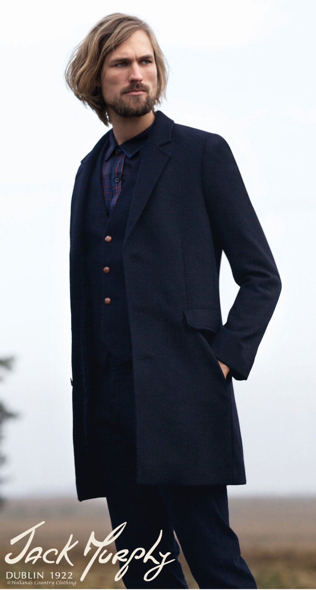 A slim-armed, near knee-length overcoat by jack murphy