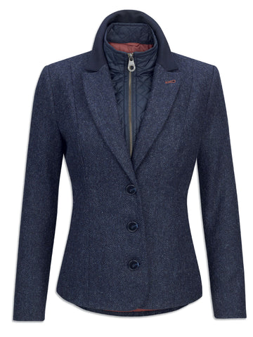 jack murphy ladies tweed hacking jacket in navy with three buttons and a quilted lining