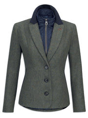 Jack Murphy Nicky Ladies Tweed Jacket with quilted lining in green delight