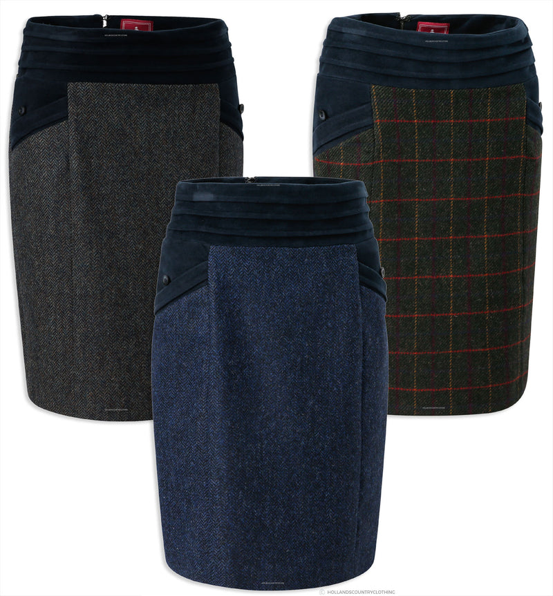 Jack Murphy Norah Tweed Skirt | Primary Green, Navy Teal, Navy Herringbone