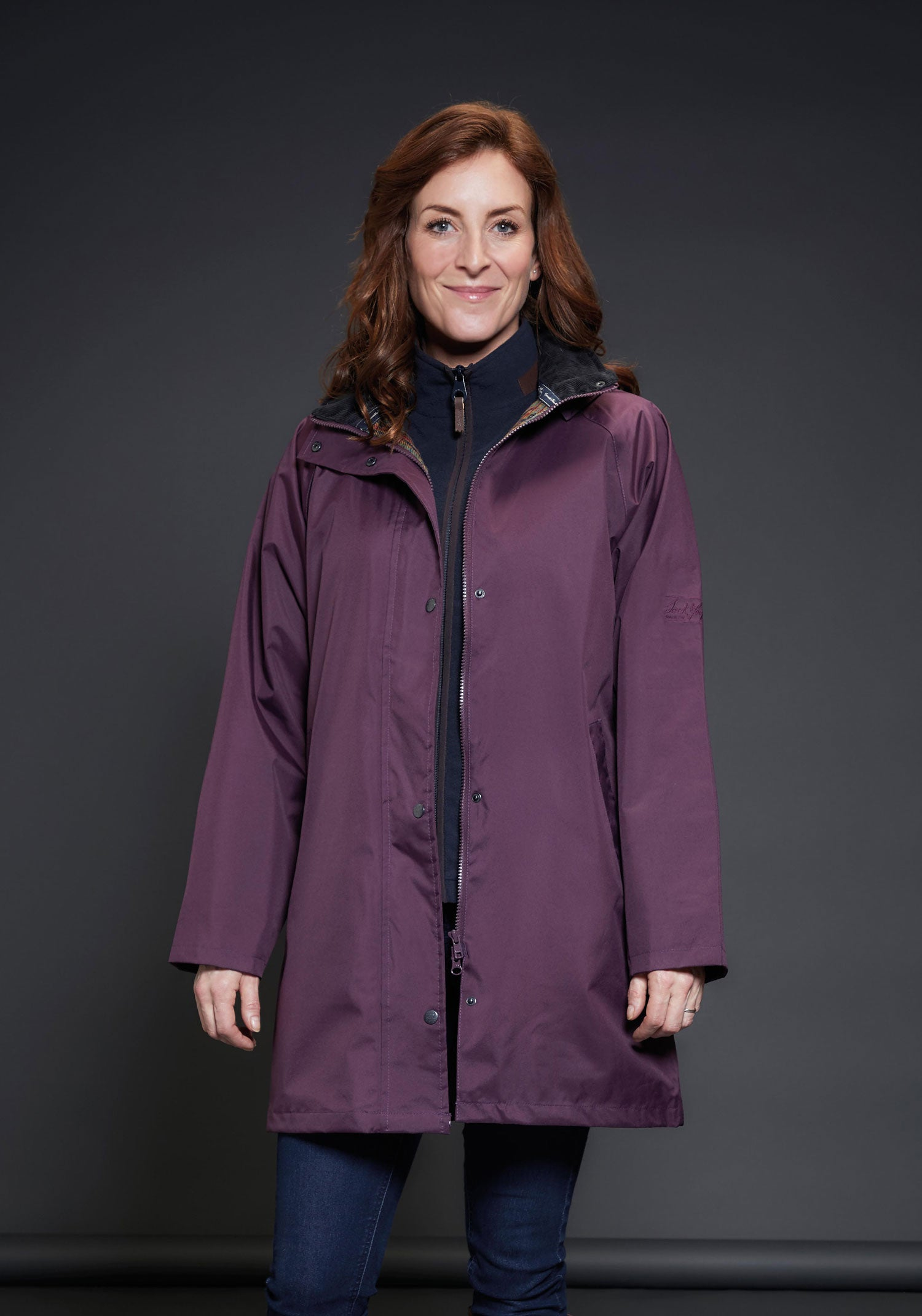 Blackberry colour ladies waterproof coat