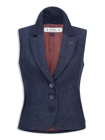 Jack Murphy Ladies Kay Tweed Gilet - Navy Delight