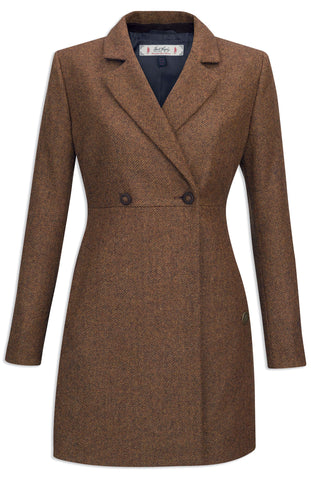 Jack Murphy Elena  Mid Length Tweed Coat - Rust Herringbone